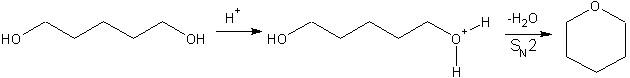 Cyclisation du pentane-1,5-diol en oxane (tétrahydropyrane).