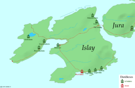 Map of distilleries on Islay