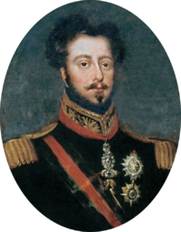 Half-length painted portrait of a brown-haired man with mustache and beard, wearing a uniform with gold epaulettes and the Order of the Golden Fleece on a red ribbon around his neck and a black and red sash of office across his chest