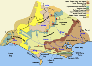 map of Dorset showing underlying geology