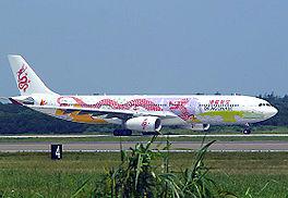 Een speciaal gekleurde Airbus A330-300 van DragonAir