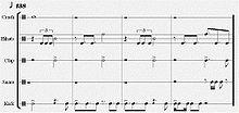 Sheet music showing four four-bar lines.