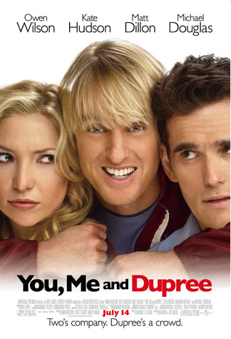 The faces of Kate Hudson and Matt Dillon with Owen Wilson squeezed in between them