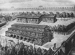 Place principale de Dvin, cathédrale (avant-plan) et palais catholicossal (arrière-plan).