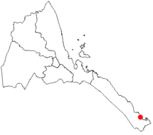 Location of Assab in Eritrea