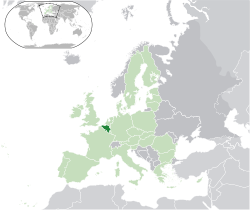 Location of Belgium(dark green)in Europe(green &amp;dark grey)in the European Union(green)  [Legend]