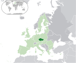 Location of Czech Republic(dark green)in Europe(green &amp;dark grey)in the European Union(green)  [Legend]