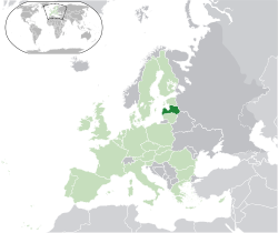 Location of  Latvia  (dark green)– in Europe  (green & dark grey)– in the European Union  (green)  —  [Legend]