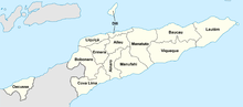 A clickable map of East Timor exhibiting its 13 administrative districts.