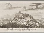 """Engraving of a castle on top of a steep hill, above the title """"The North East View of Edinburgh Castle"""". On the castle flies a large Union Flag with Scottish saltire part of flag most visible."""