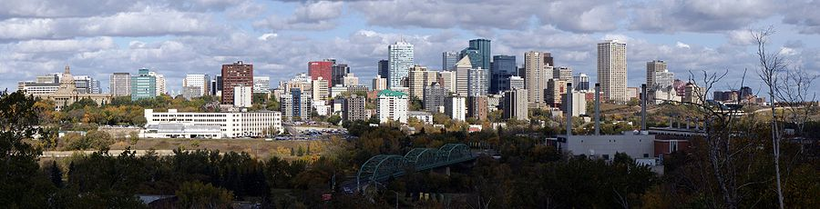 Panorama of Edmonton's skyline taken on a fall day showing the decommissioned EPCOR's Rossdale Power Plant and the Walterdale Bridge.