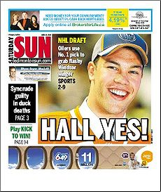 The Edmonton Sun cover from June 26, 2010.
