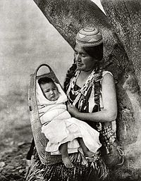 Hupa mother and infant, ca. 1924, photo by Edward Curtis