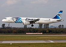 Een Airbus A321 van EgyptAir