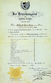 """Einstein&squot;s matriculation certificate at the age of 17. The heading reads """"The Education Committee of the Canton of Aargau."""" His scores were German 5, French 3, Italian 5, History 6, Geography 4, Algebra 6, Geometry 6, Descriptive Geometry 6, Physics 6, Chemistry 5, Natural History 5, Art Drawing 4, Technical Drawing 4. The scores are 6 = excellent, 5 = good, 4 = sufficient, 3 = poor, 2 = very poor, 1 = unusable."""