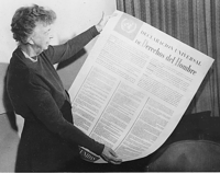 US First Lady Eleanor Roosevelt with the Spanish version of the Universal Declaration of Human Rights.