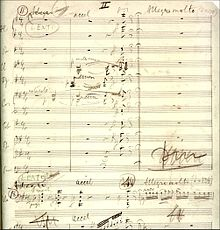 manuscript music score, faded with age