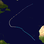 The track of a hurricane starts in the far eastern waters of the Atlantic, and spans much of the ocean before curving northward.