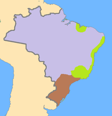A map of Brazil with regions highlighted using various colors