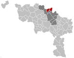 Situation de la commune dans l'arrondissement de Soignies et la province de Hainaut