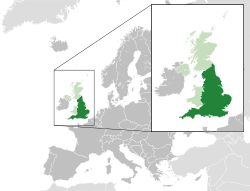 Location of England(dark green)in the European continent(light green &amp;dark grey)in the United Kingdom(light green)