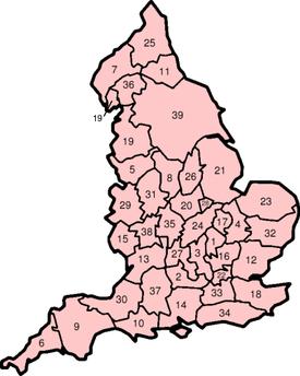 Carte des comtés traditionnels d'Angleterre
