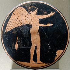 Éros, bobine attique à figures rouges, 470-450 av. J.-C., musée du Louvre.