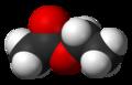 Représentations plane et 3D de l'acétate d'éthyle