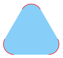 A picture of a smoothed triangle, like a triangular tortilla-chip or a triangular road-sign. Each of the three rounded corners is drawn with a red curve. The remaining interior points of the triangular shape are shaded with blue.