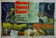 A film poster advertising for the films The Manster on the right and The Horror Chamber of Dr.Faustus on the left. The left side features a skeleton and a small image of suffocation from the film as well as text praising the film. The second side of the poster features a two-headed man wielding a dagger with a woman in peril at the bottom dressed in white.