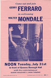 Dark blue type on pinkish background, Ferraro's name above Mondale's, large photo of them waving to an unseen crowd