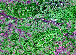 Vue satellitaire de la rivière Fils.