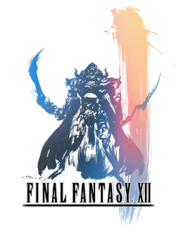 An armor-clad man with a long cape wields two curved swords. He stands above the logo of Final Fantasy XII. The piece is done in a pastel watercolor style with a large vertical streak on the right side fading from peach to pink to blue.