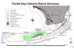 Map showing the location of Florida Keys National Marine Sanctuary