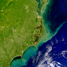 A satellite image depicting run-off offshore of North Carolina