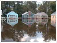 A flooded area, with houses in the background