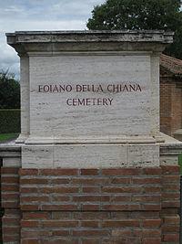 Stone pillar with plaque denoting name of cemetery.