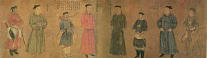 A long, landscape oriented painting of eight figures. From left to right, the first, third, fifth, sixth, and eighth people are armed, with the first and last men most heavily armed, carrying both a bow and a sword, with the other three carrying either a bow or a sword but not both. Each of the men wears a thin, flat, black cap. The third and sixth figure are also a head shorter than the rest of the figures.