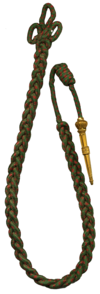 Red and Green woven citation cord with brass tip