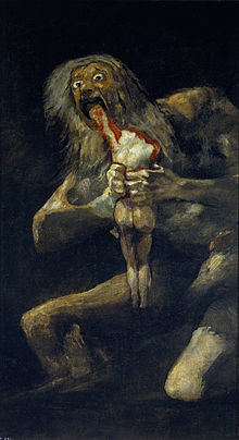 Painting of a ghoulish, naked man holding a bloody, naked body and devouring the arm.