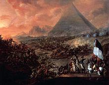 Cavalry battlescene with pyramids in background