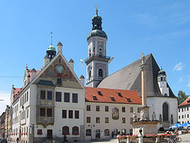 Town square with town hall and Saint George Church