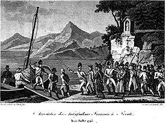 Lithographie représentant une troupe armée au bord d'un lac, conduisant deux hommes entravés à bord d'une embarcation.