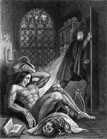 Gravure montrant un homme nu qui s'éveille sur le sol et un autre qui s'enfuit épouvanté. Un crâne et un livre se trouvent près de l'homme nu, et une fenêtre, par laquelle filtre la lumière de la lune, se situe à l'arrière-plan.
