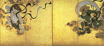 Two deities in the top left and right corners wear a skirt-like garment. The one on the left has a white skin color, the one on the right is  green.