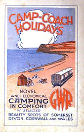 """A stylised painting of a coast line in red and blue with the sea on the left and a railway coach on the right. At the top is the title """"Camp-Coach Holidays"""", and at the bottom it says Novel and economical camping in comfort in selected beauty spots of Somerset, Devon, Cornwall and Wales""""."""""""