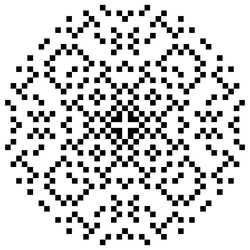 """""""A set of dots lying within a circle. The pattern of dots has fourfold symmetry, i.e., rotations by 90 degrees leave the pattern unchanged. The pattern can also be mirrored about four lines passing through the center of the circle: the vertical and horizontal axes, and the two diagonal lines at ±45 degrees."""""""