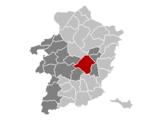 Localisation de Genk au sein de l'arrondissement de Hasselt et de la province de Limbourg