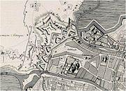 Oude kaart van het Sint-Pietersdorp met de Onze-Lieve-Vrouwekerk (5)