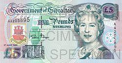 Gibraltar £5 banknote